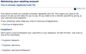 O2 already registered screen